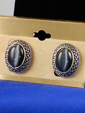 Oval Clip On Fashion Earrings Antique Silvertone Gray Cat's Eye Cabachon