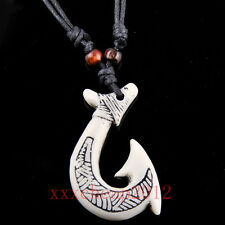 cool Yak bone Maori Matau Fish Hook pendant Necklace RH060