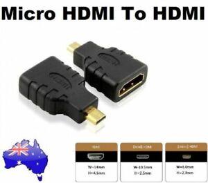 Micro HDMI Male to HDMI Female Adapter Plug Cable Converter Connector