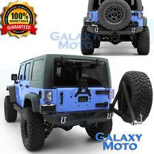 Rock Crawler Rear Bumper+Swing Away Tire Carrier Fit 07-17 Jeep JK Wrangler