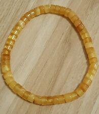 "Eggyolk butterscotch button tube baltic amber bracelet 7.5"""