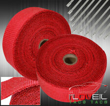 10M Header Exhaust Intake Manifold Downpipe Thermal Heat Wrap Protection Kit Red
