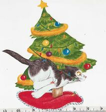 CHRISTMAS KITTEN & TREE~IRON FABRIC APPLIQUE/TRANSFER~NO SEWING REQUIRED