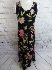 "KALIKO maxi dress 10 Bust 36"" long black floral sleeveless Made in Great Britain"