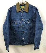 Cabela's Mens Roughneck Flannel Lined Denim Jean Jacket Leather Collar Small NEW