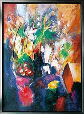 Jiawan Jang *1968 Kaifeng/China: Blumen Ölgemälde-Collage, 120 x 90 cm 1990er J.