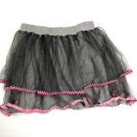 New Naartjie Girls 12 Gray Pink Ribbon Tulle Tutu Skirt