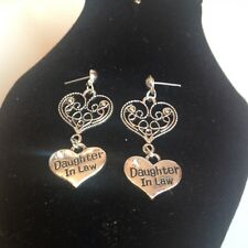 Daughter in law and heart stud earrings silver plated
