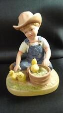 Homco Denim Days No1500 Boy With Chicks Basket 1985 Straw Hat