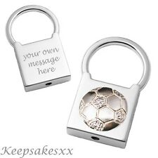 FOOTBALL in Sterling Silver - Padlock Keyring with Personalised Engraving