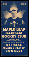 1949-50 Quaker Oats Toronto Maple Leaf Bantam Hockey Club Membership Booklet