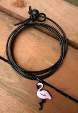 Black leather surf wrap, bracelet with Pink Flamingo charm