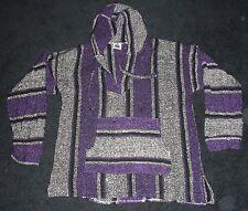 Baja Hoodie Jacket Pullover Poncho Mexican Large Gray Purple Black Drug Rug
