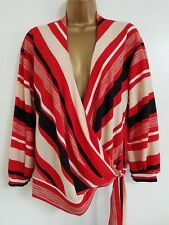 NEW Debenhams RRP £34.00 Red Black Beige Striped Crepe Wrap Top Shirt Blouse