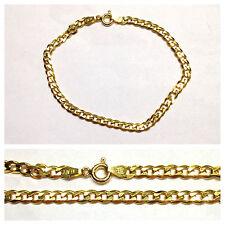 BELLO Bracciale in argento 925er dorato 19 cm collana maglia grumetta ITALIA