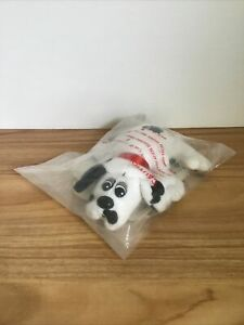 Vintage 1987 Pound Puppies Black and White Puppy with Bag Instructions