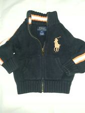 Ralph Lauren Polo 100 percent Cotton Knit Cardigan Zipper Navy Sweater BabY 9M
