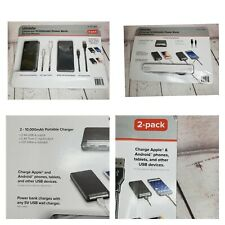 "2-Pack ubiolabs 10,000mAh Power Bank Charging Cell Phones ""New """