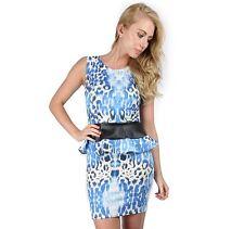 Womens Ladies Sleeveless PVC Peplum Frill Printed Bodycon Mini Dress Plus Size
