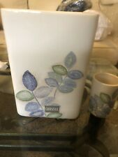 New Croscill Mosaic Leaves Waste Basket & Tumbler Set. New. Decorative