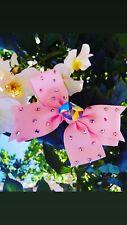 Sparkling Baby Pink Hair Bow Clip Aurora Borealis AB Accessory Wedding Bride