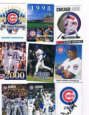 CHICAGO CUBS SCHEDULE LOT of (10) DIFFERENT : 1990 - 2013 Sosa Rizzo Soriano