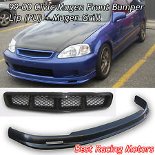 Mu-gen Style Front Bumper Lip (PU) + Mu-gen Style Grill Fit 99-00 Civic 3dr