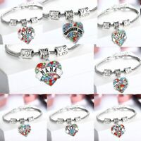Crystal Heart Charms Niece Aunt Nana Sister Grandma Daughter Mom Friend Bracelet