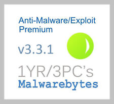 Malwarebytes AntiMalware/Exploit Premium v3.22 - 1YR/3PC's - Genuine!