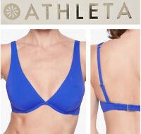 NWT Athleta $54 Tulum Sz S and M Dress Blue T Back Bikini Swimsuit Top #228425