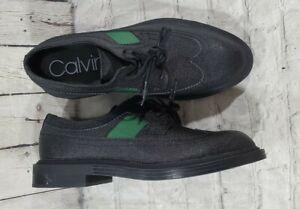 Calvin Klein Carper Leather Wingtip Dress Shoes Oxfords Black Green MENS SZ 11.5