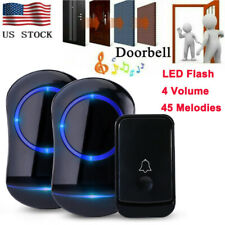 Wireless Door Bell Doorbell Loud Chime LED Flash 1Transmitter+2 Plug in Receiver