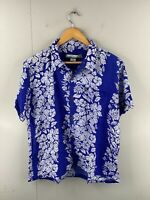 Pineapple Connection Mens Vintage Short Sleeve Hawaiian Shirt Size L Blue Floral