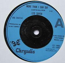 """Leo Sayer-más de lo que puedo decir-Excelente Con 7"""" SINGLE CHRYSALIS CHS 2442"""