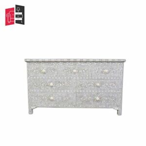 Mother of Pearl Inlay Floral Design Chest of 7 Drawers Grey (MADE TO ORDER
