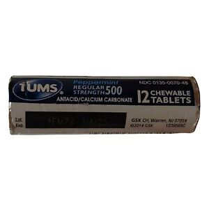 Tums Regular Strength Antacid, Calcium Carbonate 500 mg, Peppermint, 12 Tablets