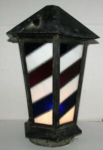 Antique Barber Shop Pole Lamp Post Globe w Red White & Blue Stained Glass