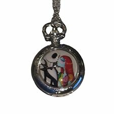 "Nightmare before Christmas Jack Kissing Sally Pocket Watch Necklace 30"" Chain"