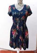 Monteau Nave Blue Print Dress Size Large, Vintage style, Retro, Hipster