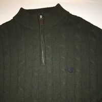 Mens Chaps Cable Knit Pullover Sweater sz Large Green 1/4 Zip
