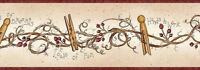 Clothespins and Rosehips Wallpaper Border FAM65043B Burgundy 4 1/2 in x 5 yards