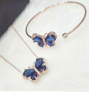 AAA QUALITY STERLING 925 SILVER LADY JEWELRY BLUE SAPPHIRE NECKLACE & BANGLE SET