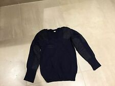 commando sweater ,v neck,epaulets, used  good, navy color ,large,1988