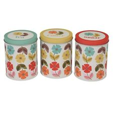 dotcomgiftshop MID CENTURY POPPY DESIGN SET OF TEA COFFEE SUGAR TINS
