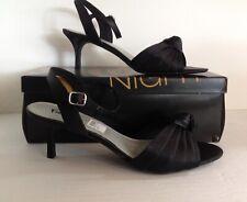 12 M Fioni Night Kayla Black Satin Knot Sandals Heels Black Tie NEW*IN*BOX