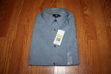 NWT Mens CALVIN KLEIN Blue Gray Life Style Long Sleeve Dress Shirt XL X-Large