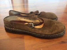Women's Size 9.5 Born Brown Leather Mary Janes Flats Shoes Very Good Suede