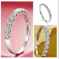 Birthstone Wedding Band Jewelry 925 Silver New White Fashion Women Sapphire Ring