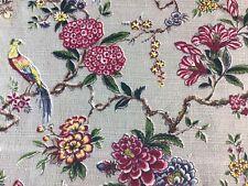 Vtg 1940's Pink & Blue Flowers & Birds on Gray Background Nubby Barkcloth Fabric