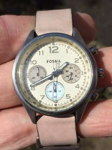 LADIES FOSSIL CH-2794 LEATHER STRAP WATCH FULLY RUNNING NICE ORDER